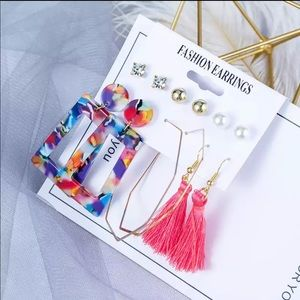 Earrings Resin multicolor tassels gold geometric